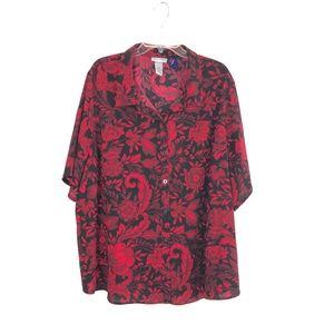 Catherines Women's Button Down Floral Shirt 14K